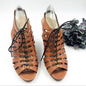 Cole Haan   Caged Lace Up Wedge Heel Sandals